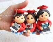 Graduation Students Cupcake Toppers ( 6 Graduation Dolls, 1 Message Plate)