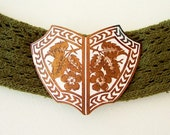 Fairytale Forest - Large Victorian Edwardian Copper and Enamel Sash Buckle Pin with Cherry Blossoms and Geometric Greek Arrows