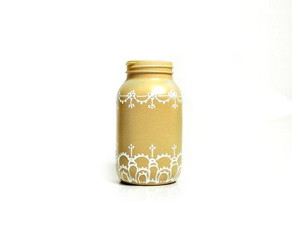 Shabby chic Autumn yellow mason jar vase