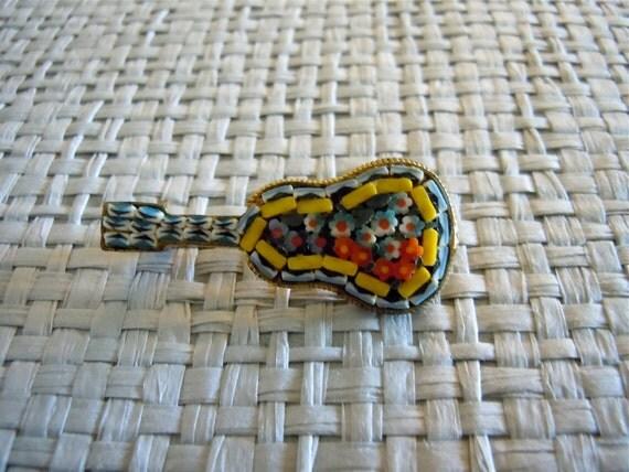 Guitar Italian Mosaic Pin/ 60s art glass brooch, musical instrument