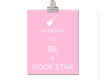 Kids Modern Wall Art, Home and Living Wall Art, Wall Hangings, Nursery Art, Modern Nursery, Guitar, Someday I'll Be A Rockstar