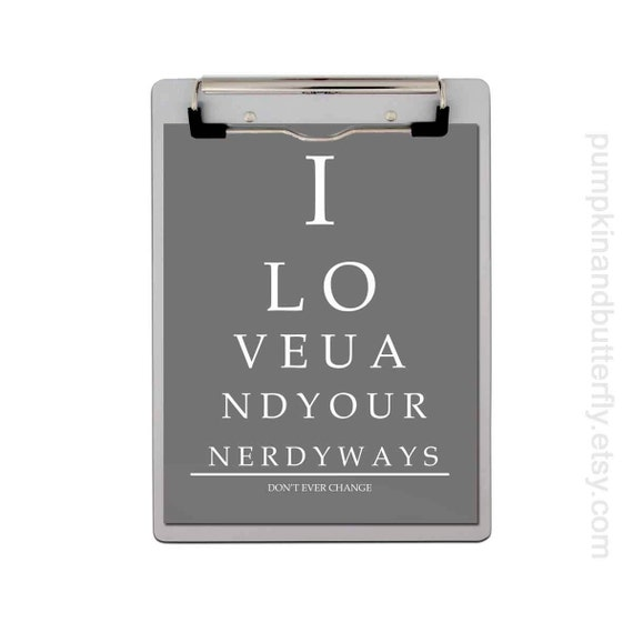 Eye Chart Print, Nerd Love, Digital Print, Engagement Print, Geekery, Home Office, Typography, Wall Decor, I Love U and Your Nerdy Ways