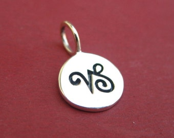 Sterling Silver Stamped Capricorn Zodiac Sign Disc Tag Charm