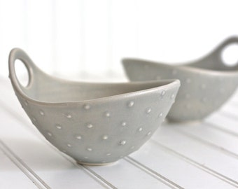 Pottery Bowl - Soft Gray Polka Dot Bowl with Handle - Noodle Bowl