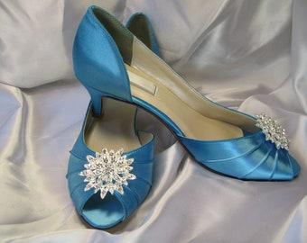 Wedding Shoes Peep Toe Bridal Shoes 100 Custom Colors Pick your heel size Malibu Blue