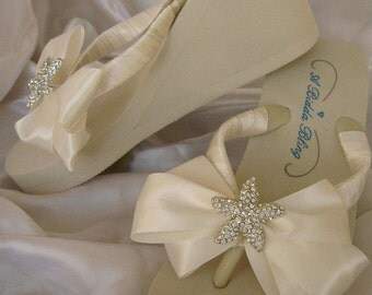 Ivory Flip Flops with Rhinestone Starfish and Bow