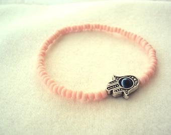 Breast Cancer Awareness Pink Evil Eye Kabbalah Hamsa Stretch Bracelet