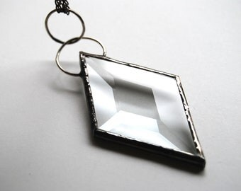 Stained Glass Jewelry Diamond Bevel Pendant Stained Glass Necklace Long Necklace Gunmetal Silver Chain (1317M)