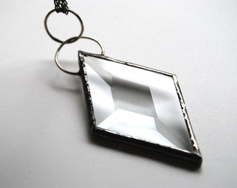 Stained Glass Jewelry, Diamond Bevel Pendant, Stained Glass Necklace, Long Necklace, Stained Glass Pendant, Stained Glass Diamond (1317)