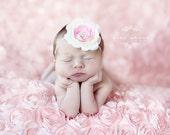 Baby Flower Headband - Newborn Headband - Photo Prop - Ivory and Pink Flower Headband