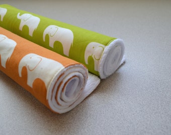 Organic Baby Burp Cloths - Gender Neutral Baby Elephants