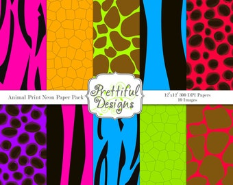 Animal Print Neon Digital Paper pack for Digital Scrapbooking, Photography, Card Making, Commercial Use