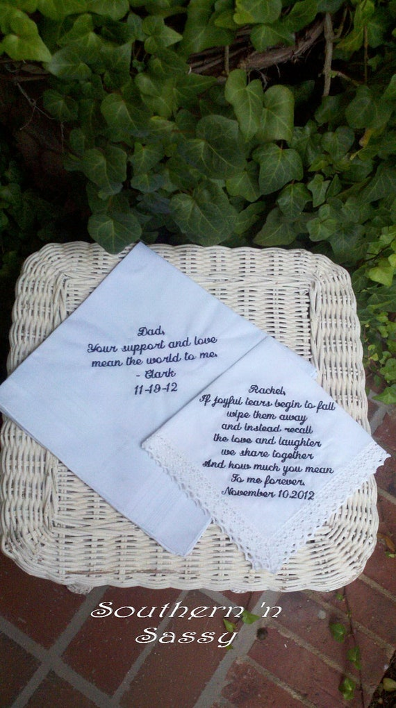 Bride's Choice of Two Custom Embroidery Wedding Handkerchief