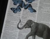 BOGO SALE Elephant Butterfly Print Elephant With Blue Butterfly Balloons Dictionary Art Dictionary Print HHP Original Concept and Design