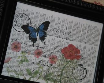 BOGO SALE Wall Art Print Butterfly Print Upcycled Art Print Vintage Dictionary Book Page Blue Butterfly and Flowers