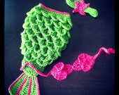 Newborn Crochet Mermaid Tail - Bright Green With Hot Pink Accent - Made To Order - Photography Prop