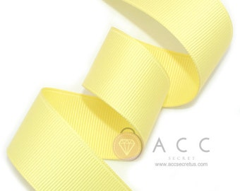 Pale Yellow Grosgrain Ribbon - 5mm(2/8''), 10mm(3/8''), 15mm(5/8''), 25mm(1''), and 40mm(1 1/2'')