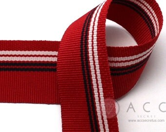 2Yards 25mm(1'') Red White/Navy Stripe Grosgrain Ribbon