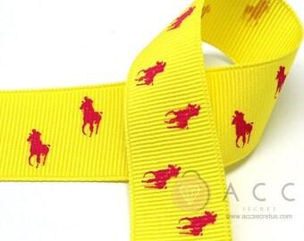 25mm(1'') Yellow / Cherry Pink Riding Horse Print Grosgrain Ribbon