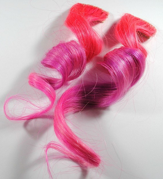 Coral Cupcake / Human Hair Extension / Peach Pink Lilac / Long Tie Dye Colored Hair