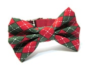 Holiday Bow Tie Dog Collar- Christmas Red and Green Argyle