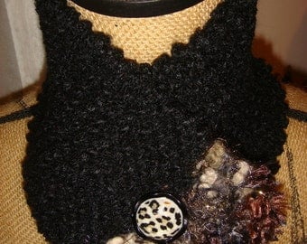 Black and Tan Neck Warmer/Scarflette with leopard button