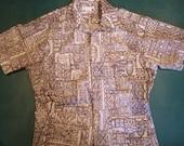 Vintage Men's Hawaiian Tiki Print Cabana Shirt Jacket Sz XL