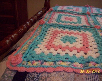 Sweet Rosettes Crocheted Baby Afghan