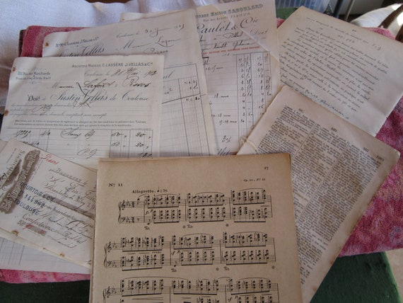 Antique French 23 pieces handwritten receipts, orders, music, dictionary, copperplate print scrapbooking
