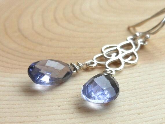 Periwinkle Blue Iolite Earrings Sterling Silver, Briolette Dangle earrings