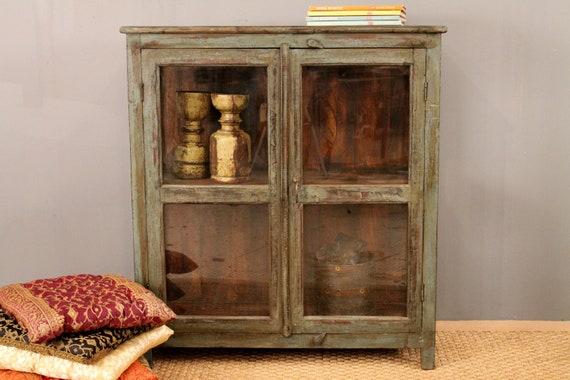 Distressed Olive Green Glass Storage Cabinet Kitchen Bathroom on Etsy