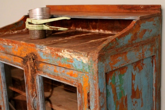 Item Vintage Distressed Blue Rustic Storage Kitchen Bathroom Cabinet