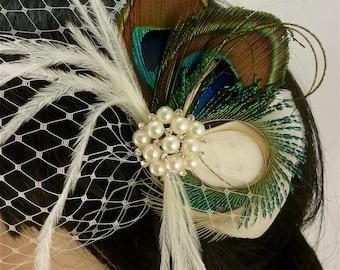 Bridal Feather Fascinator, Bridal Fascinator, Feather Fascinator, Fascinator, Wedding Veil, Bridal Headpiece, Bridal Veil