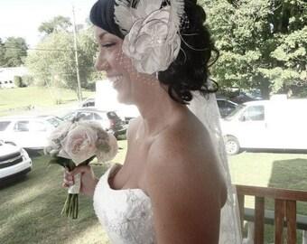 "Handmade Champagne  Bridal Flower Fascinator 4.5"" flower, Bridal Accessories, Bridal Fascinator, Wedding Accessories, Flower Hair Clip"