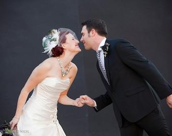 Wedding Fascinator, Feather Wedding Head Piece, Feather Fascinator, Bridal Hair Accessories, Bridal Veil Set, Gatsby Wedding, Great Gatsby