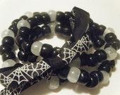 Black Spider Web Halloween Bracelet