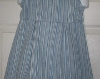 Blue and White Striped Denim Dress Fits 12 to 18 Months