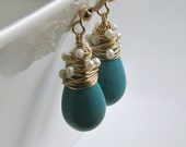 Turquoise Pearl Drop Earrings, Wire Wrapped Turquoise Drops, Pearl Dangle Earrings, December Birthstone Earrings, Bridal Earrings