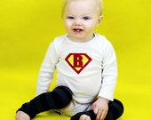 Superbaby custom onesie - pick your letter and colors - newborn through 24 month