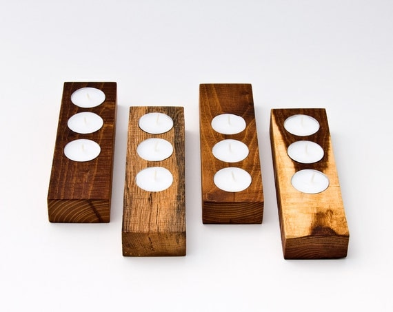 Tealight Candle Holder Reclaimed Wood Seed Starter ILA