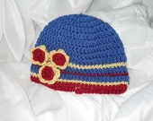 Blue Crocheted Hat with Flower Accent