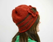 Red Crocheted Hat with Flower Accent