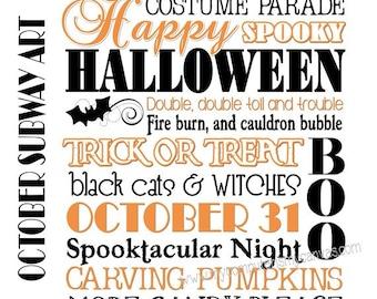 Halloween or October Subway Art - Printable INSTANT DOWNLOAD
