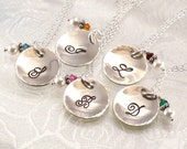 """Set of Five Bridesmaids Necklaces for Special Price -  Five Monogrammed 5/8""""  Charm Discs - Hand Stamped -  Personalized Bridal Jewelry"""