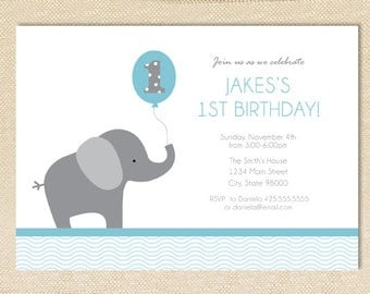 Elephant Birthday invitation - set of 15