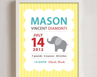 Personalized Birth print elephant wall art - 8x10 print