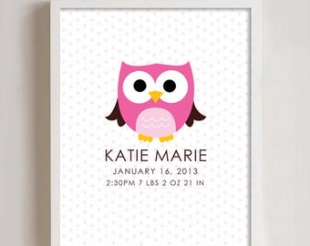 8x10 - Custom Birth Print - OWL