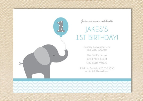 Elephant Birthday invitation - set of 12