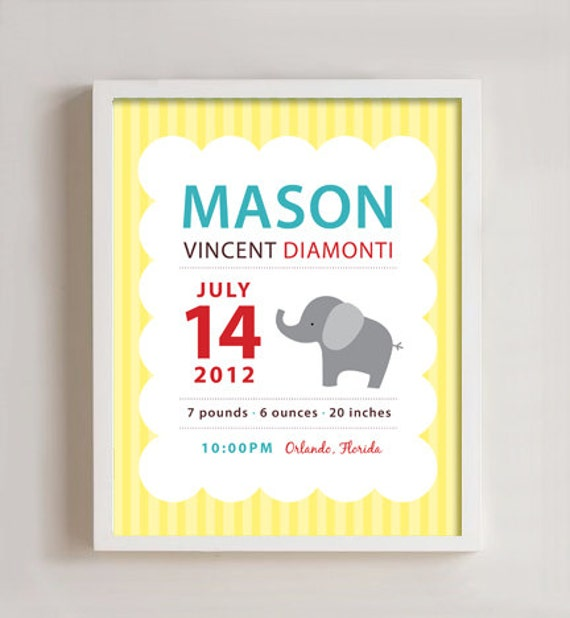 Personalized Birth print elephant wall art - 8x10 print with Frame