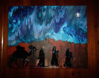 Three Wise Men Melted Crayon Painting